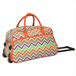 All-seasons 8112022-171 21 In. Zigzag Collection Carry-on Rolling Duffel Bag, Orange Trim