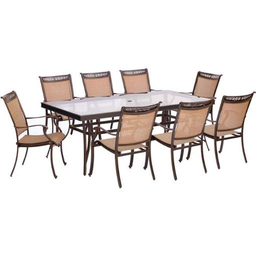 Hanover FNTDN9PCG Fontana Dining Set with Sling Dining Chairs, Glass Dining Table - 9 piece