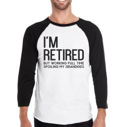 Retired Grandkids Mens Raglan Shirt Comfortable Round Neck Wear