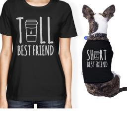 Tall Short Cup Small Pet Owner Matching Gift Outfits Black Shirts