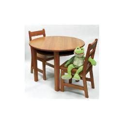 Lipper 524p rnd table chair set pecan
