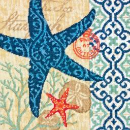 "Starfish Needlepoint Kit-14""X14"" Stitched In Wool & Thread 71-20075"