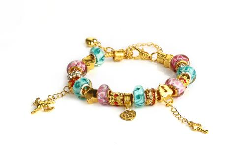 Novadab 18K Gold Plated? Cupid Got Me? Charm Bracelet, Twin Hearts Lock & Charm Bracelet - 7.5 inches