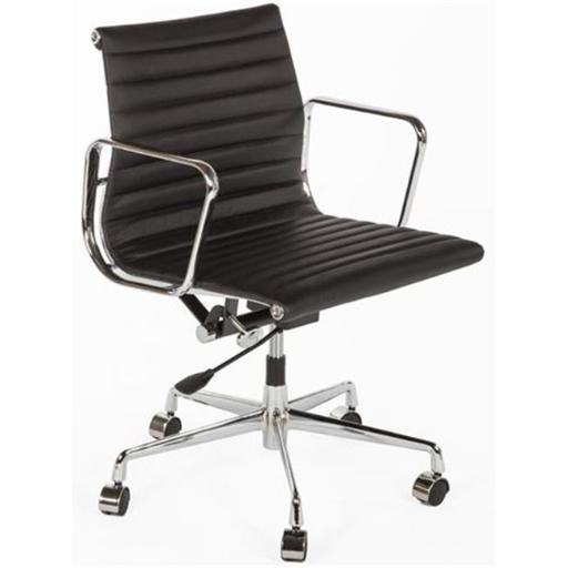 Control Brands FZC1022BLK The Mid-Century Genuine Leather Executive Office Chair, Chrome, Black
