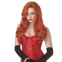 Jessica Rabbit Wig Red Silver Screen Sinsation Framed Movie Sexy Adult Costume