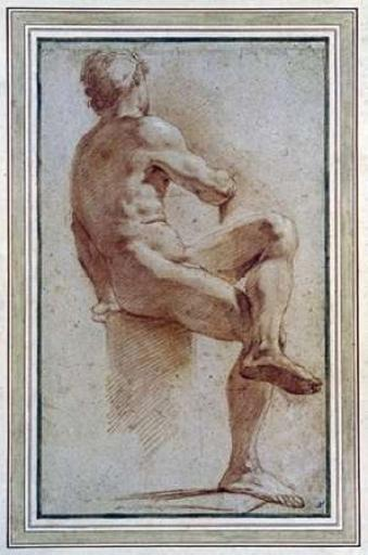A Male Nude Seated With His Back Turned Poster Print by Annibale Carracci XAZCLYVOELRMLBXV