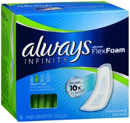 always-infinity-flexfoam-pads-without-wings-heavy-flow-16-ct-pack-of-4-84a2d4998bafb7f4