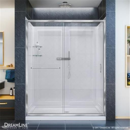 DreamLine DL-6117C-01CL 32 x 60 in. Infinity-Z Frameless Sliding Shower Door, Single Threshold Shower Base Center Drain & QWALL-5 Shower Backwall Kit