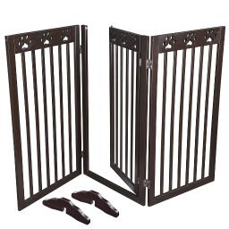 "60""x36"" 3 Panel Folding Pet Gate Wood Dog Fence Baby Safety Gate Playpen Barrier"
