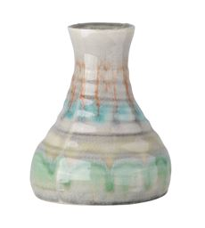 Urban Trends Ceramic Round Bellied Vase with Trumpet Lip and Multi Color Blended Design Body in Gloss Finish - Polychromatic