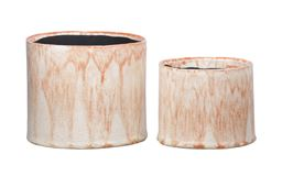 Urban Trends Ceramic Round Pot with Rusted Orange Crackled Design Body and Black Inner Surface in Gloss Finish - Set of 2