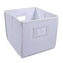 Badger Basket Co Folding Basket/Storage Cube - White Waffle