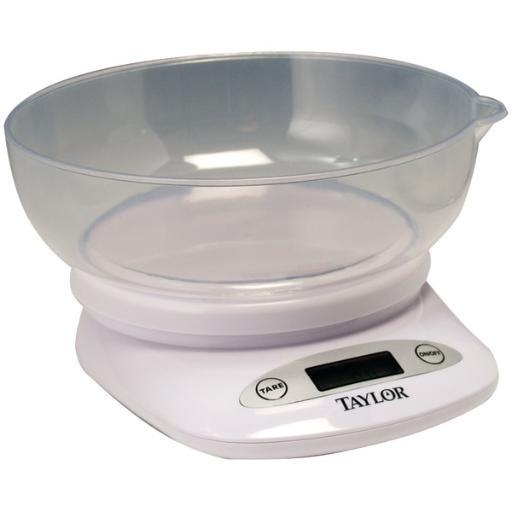 TAYLOR 380444 4.4lb-Capacity Digital Kitchen Scale with Bowl