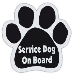 Service Dog On Board Paw Magnet Dog Cat 5.5