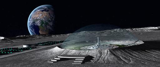 A domed crater is home to a lunar city Earth rises in the background Poster Print by Frieso Hoevelkamp/Stocktrek Images