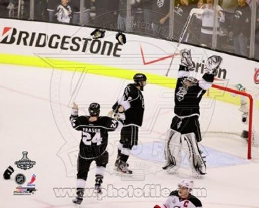 Drew Doughty, Jonathan Quick, & Colin Fraser Celebrate Winning Game 6 of the 2012 Stanley Cup Finals Sports Photo Y1SPMP9WQZSXJLFD