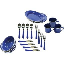 Stansport(tm) 11220 enamel camping 24-piece tableware set