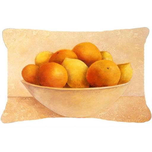 Carolines Treasures BABE0085PW1216 Oranges & Lemons in a Bowl Fabric Decorative Pillow