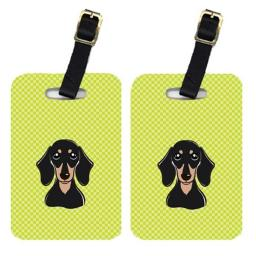 Carolines Treasures BB1277BT Pair Of Checkerboard Lime Green Smooth Black And Tan Dachshund Luggage Tags