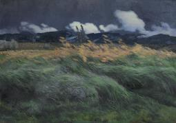 Landscape, By Louis Patru, 1895-1905, Swiss Painting, Oil On Canvas. Landscape With Windblown Grass And Grain With A Low Mountain Range In The Distance. Poster Print