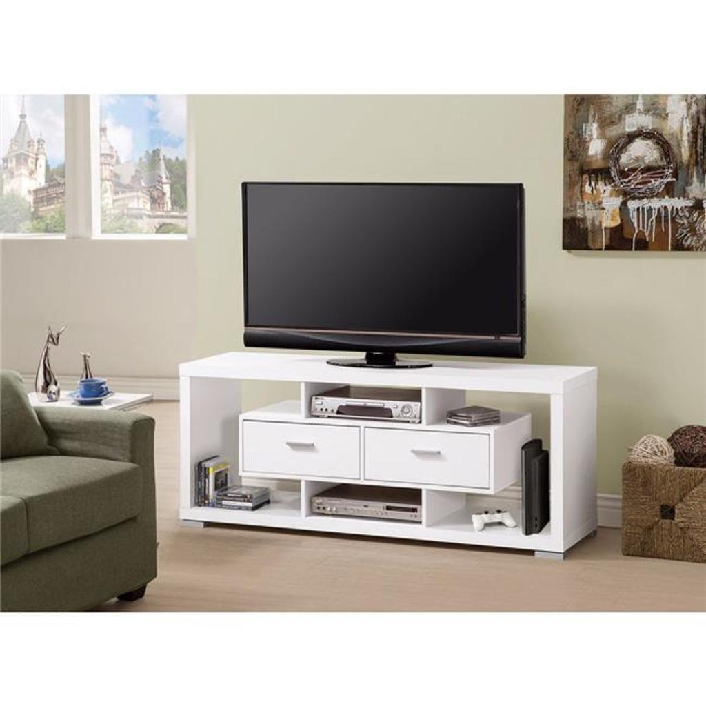 Benzara BM156127 23.5 x 59 x 15.5 in. Spacious Modern Style TV Console, White