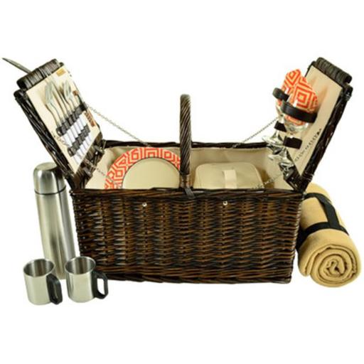Picnic at Ascot 713BC-DO Surrey Picnic Basket Equipped for 2 with Blanket & Coffee Set - Diamond Orange