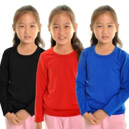 Angelina Girl's Fleece Lined Crew-Neck Long Sleeves Thermal Top - Small