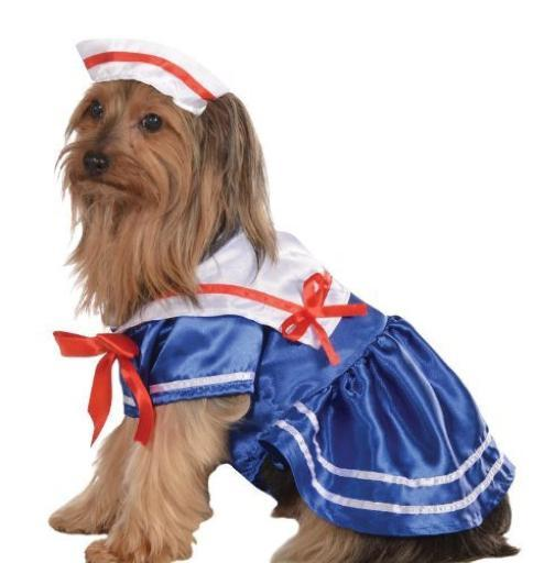 Sailor Girl Pet Costume Dog Dress Hat Halloween Fancy Dress Gift