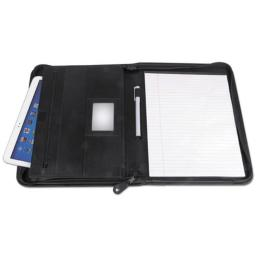 Universal Office Products 32665 Leather Textured Zippered PadFolio with Tablet Pocket, Black