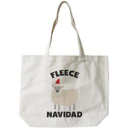 Feliz Navidad Christmas Gift Canvas Bag Custom Funny X-mas Fleece Tote Bag