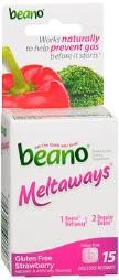 Beano Meltaways Food Enzyme Dietary Supplement Strawberry - 15 Tablets, Pack Of 4