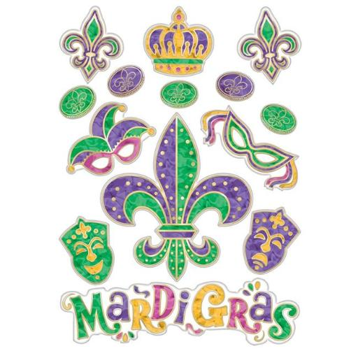 Amscan 241993 Mardi Gras Vinyl Embossed Window Decoration - Pack of 3