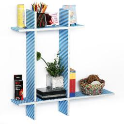 Sailor Stripe-BLeather Cross Type Shelve / Book Shelve / Floating Shelve 4 pcs