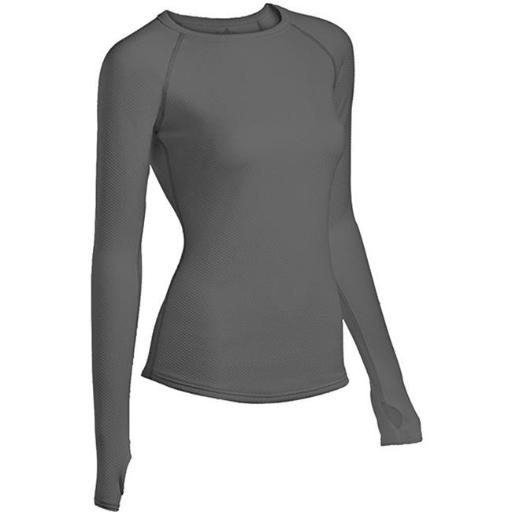 Coldpruf 560401 Womens Honeycomb Long Sleeve Crew Neck Top, Grey - Medium