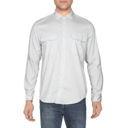 Calvin Klein Jeans Mens Stretch Collared Casual Shirt