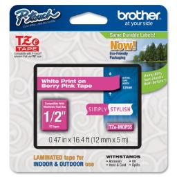 Brother international corporat tze-mqp35 12mm (0.47) white on berry pink tape for p-touch 5m