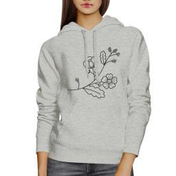 Flower Unisex Hoodie Cute Flower Design Round neck Pullover Fleece