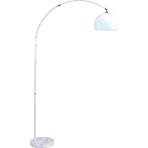 Modern Hanging Floor Lamp with Marble Base & White Shade