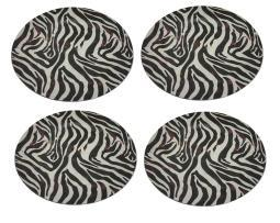 Set of 4 Brown and White Zebra Striped Charger Plates