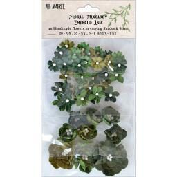 Floral Mixology Paper Flowers Assorted Sizes 49/Pkg-Emerald Isle
