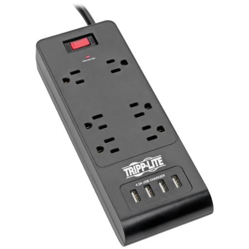 Tripp lite tlp664usbb protect it! 6-outlet surge protector with 4 usb ports, 6ft cord