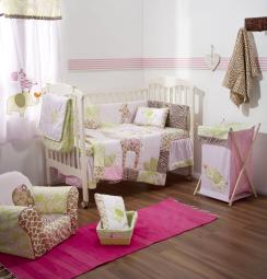 [Pink Jungle and Safari] 4 Pc Crib Bedding Set Crib Bedding Collection