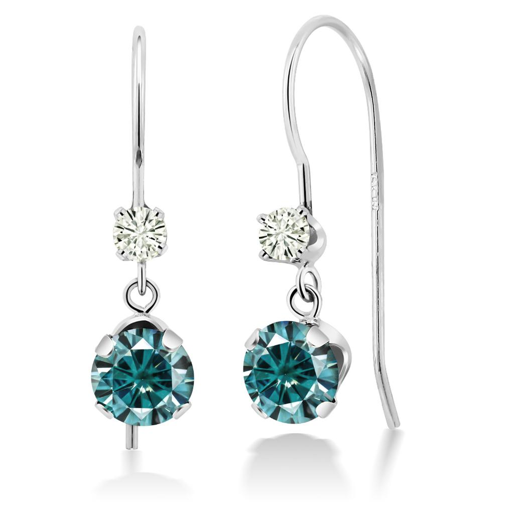 14K White Gold Dangle Earrings Round Blue Created Moissanite and Forever Classic Created Moissanite 0.12ct (DEW) by Charles & Colvard