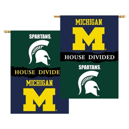 Bsi Products 96329 Michigan - Michigan St. - 2 Sided 28 x 40 in. Banner With Pole Sleeve House Divided KML0YYBA56ZSXOWS