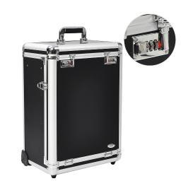 "AW 14x9x20"" Pro Black Rolling Aluminum FrameJewelry Makeup Case w/ Slide-out Drawers Code Lock Display Box"