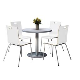 KFI Seating T36RD-B1922SL-GN-9222CH-WH 36 in. Round Pedestal Table with 4 White Stacking Bentwood Chairs, Grey Nebula