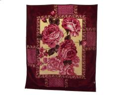 """Floral Embossed Winter Decorative Soft Thick Warm Bed Blanket Throw DARK RED (76.5""""-91"""")"""