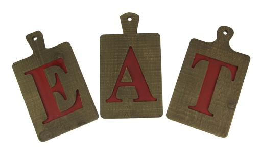Eat Letters Rustic Wood Cutting Boards Wall Decor Set