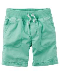 Carter's Baby Boys' Pull-On Twill Shorts, (9M, Green)