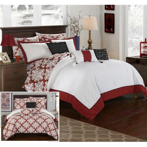 Chic Home CS2188-US Olympia & Reversible Medallion Printed Plush Hotel Collection Bed in a Bag Comforter Set with Sheets - Marsala & White - Queen - 1